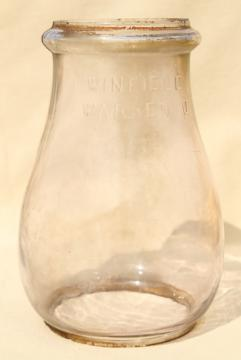 vintage glass globe Winfield Warren, replacement lamp shade for railroad or barn lantern