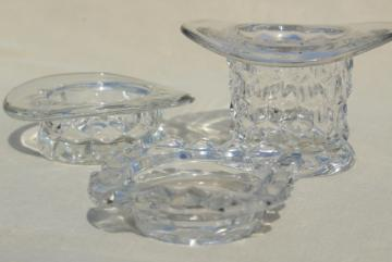 vintage glass hats, top hat & flat hat Fostoria American cube pattern glass