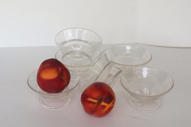 vintage glass ice cream dishes, candy or drug store soda fountain single scoop sherbets