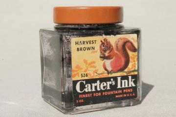 vintage glass ink bottle, Carter's paper label w/ nut brown squirrel art