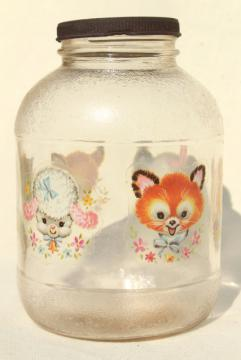vintage glass jar w/ 1950s baby animal decals, sweet old nursery decor
