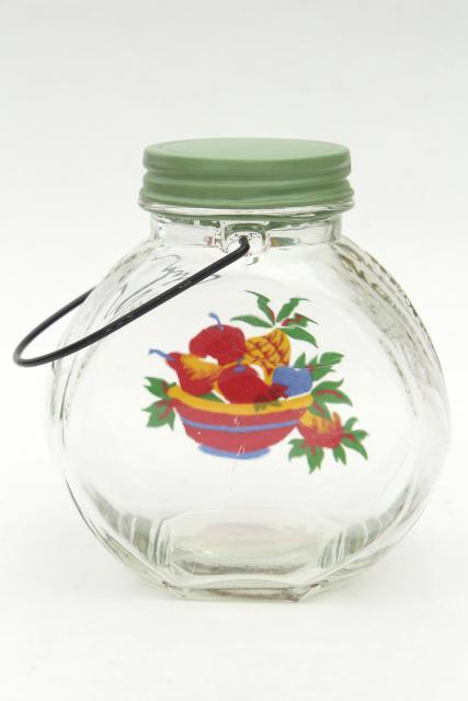 Vintage Glass Jar Kitchen Canister W Wire Handle Retro