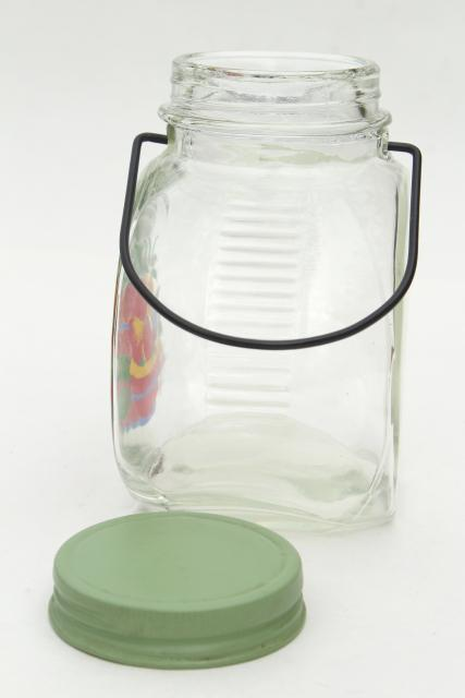 vintage glass jar kitchen canister w/ wire handle, retro fruit decal, jadite green lid