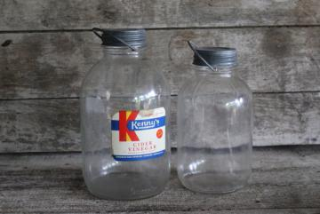 vintage glass jars w/ wire bail handles, primitive old vinegar bottles w/ paper label