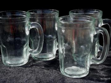 vintage glass jelly jar mugs, set of fruit preserve jars w/ cup handles