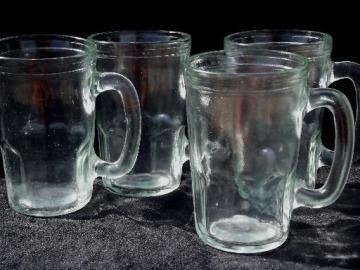 vintage glass jelly jar mugs, set of fruit preserve jars w/ cup handles