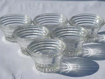vintage glass jelly mold glasses, small jam / preserve jar molds