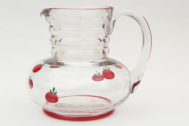 vintage glass juice pitcher w/ hand painted tiny red tomatoes, retro kitchen glassware
