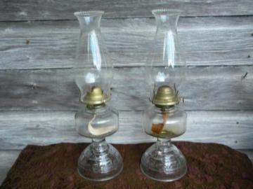 vintage glass kerosene or oil lamps w/hurricane chimneys P&A Risdon