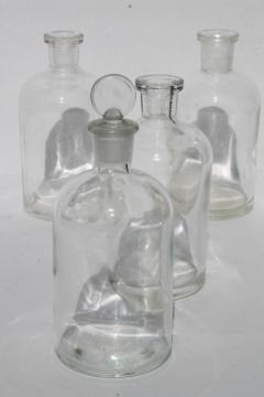 vintage glass lab chemical bottles, old apothecary bottle lot, pharmacy medicine bottles