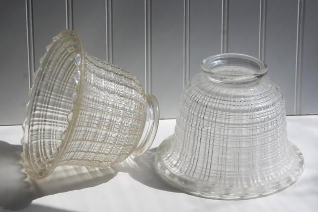 vintage glass lamp or light shade pair holophane style prismatic waffle pattern clear glass