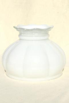 vintage glass lampshade, white painted 'milk glass' shade for student lamp