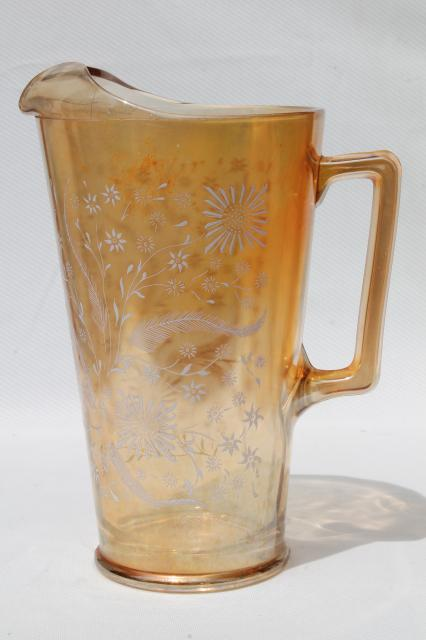 vintage glass lemonade set pitcher & glasses Jeannette cosmos white flowers marigold carnival luster