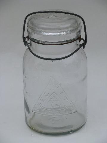 vintage glass lightening lid Security Seal mason canning jar, embossed logo