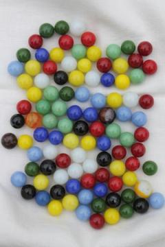 vintage glass marbles for Chinese checkers or other game pieces, parts lot