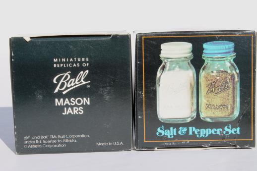 vintage glass mason jars S&P shakers w/ metal shaker lids, new old stock lot