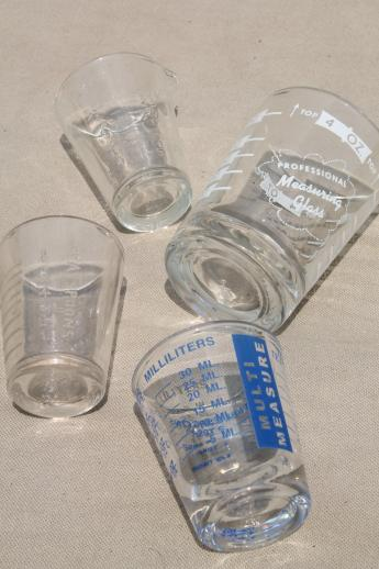 vintage glass ounce measures, graduated measuring glasses, medicine glasses & jiggers