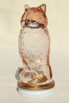vintage glass owl jar, figural candy container in pink depression glass