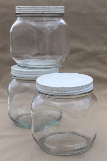 vintage glass pantry jars lot large glass jar canisters for bulk food storage - Large Glass Jars