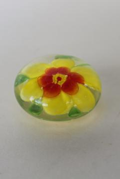 vintage glass paperweight, yellow flower daisy encased in clear glass, art glass made in China