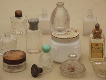 vintage glass perfume bottle collection, old vanity jars and bottles