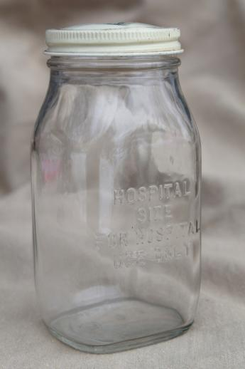 vintage glass pharmacy medicine bottle embossed Wyeth hospital use half-pint jar