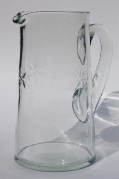 vintage glass pitcher, lemonade or cocktail pitcher w/ wheel cut star starburst pattern