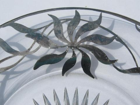vintage glass plate, hand-painted silver deposit flower pattern