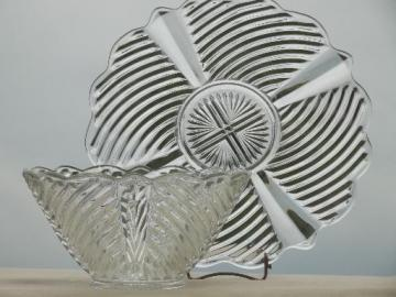 vintage glass punch bowl & underplate, pressed pattern glass