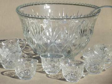 vintage glass punch set, Hazel Atlas glass Lexington punch bowl & cups