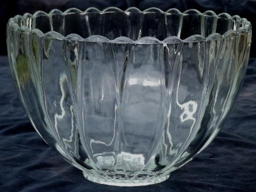 vintage glass punch set w/ clear glass flower shaped bowl ...