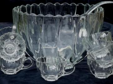 vintage glass punch  set w/ clear glass flower shaped bowl & punch cups