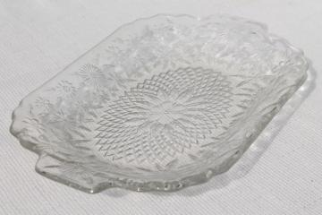 vintage glass serving tray or platter, pineapple and floral clear pressed pattern glass