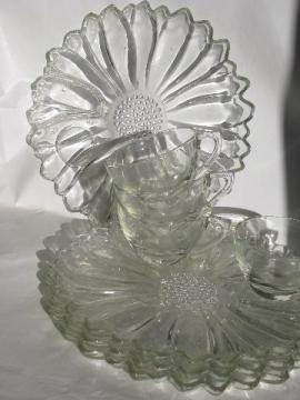 vintage glass sunflowers snack sets, round flower plates & cups