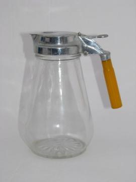 vintage glass syrup pitcher, carmel bakelite handle