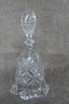 vintage glass table bell, Hofbauer Germany crystal bell collectible