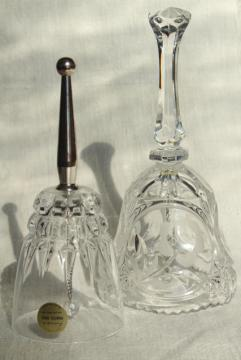 vintage glass table service bells, cut crystal, Princess House Cris d'Arques Pompadour