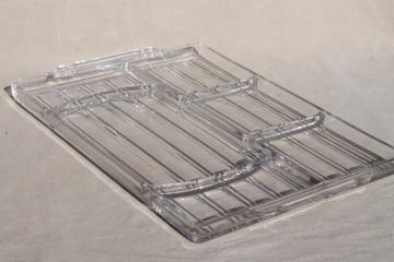 vintage glass tray w/ divided sections for desk organizer or serving tray