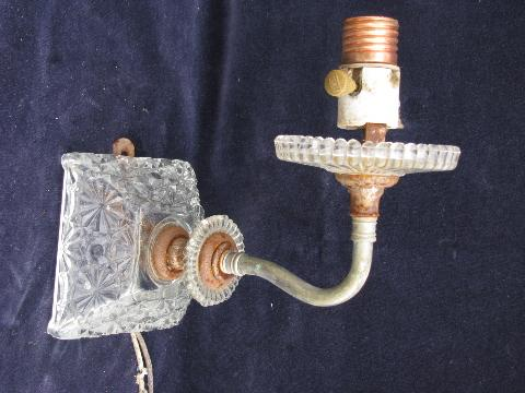 Antique Wall Light Parts : vintage glass wall lamp sconces, sconce light lot for restoration or parts