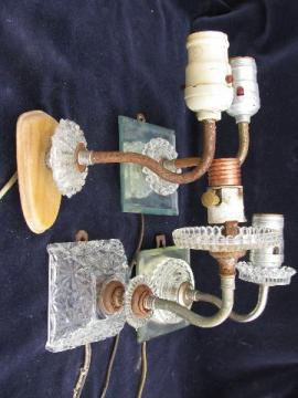 vintage glass wall lamp sconces, sconce light lot for restoration or parts
