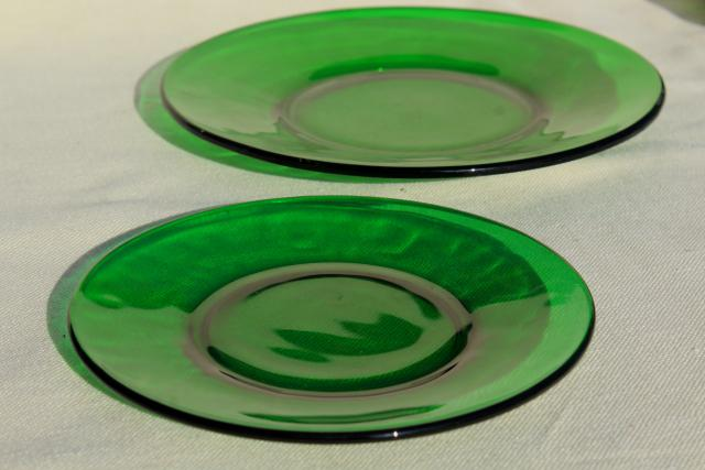 Vintage Glassware Forest Green Glass Dishes Salad