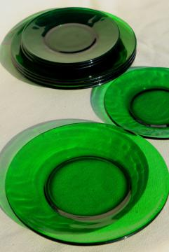 vintage glassware, forest green glass dishes, salad & bread plates set