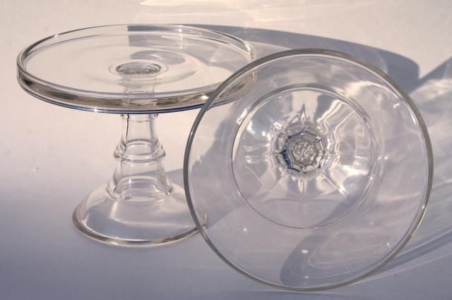 vintage glassware, plain elegant glass serving pieces, salver cake stand & compote fruit bowl