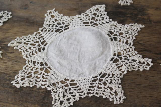 vintage goblet rounds small table mat doilies set of 18, handmade crochet lace on linen