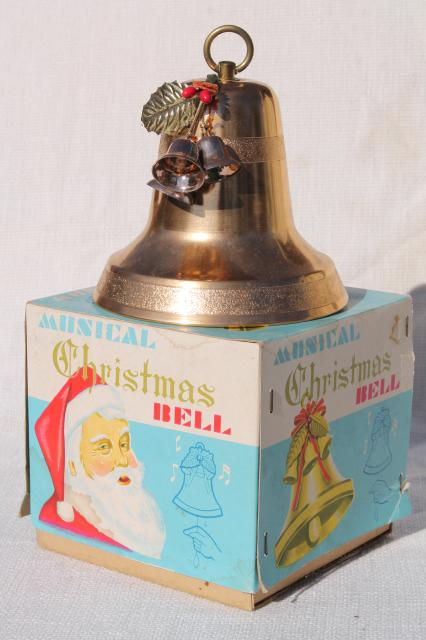 vintage gold aluminum Christmas bell, musical music box ...
