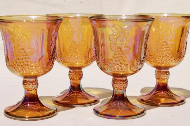vintage gold & blue iridescent carnival glass, harvest grapes goblets wine glasses