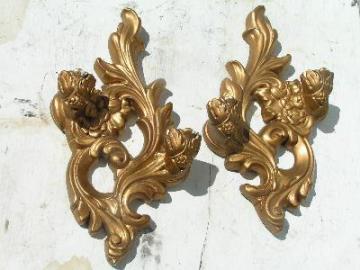 vintage gold chalkware / plaster, sconces