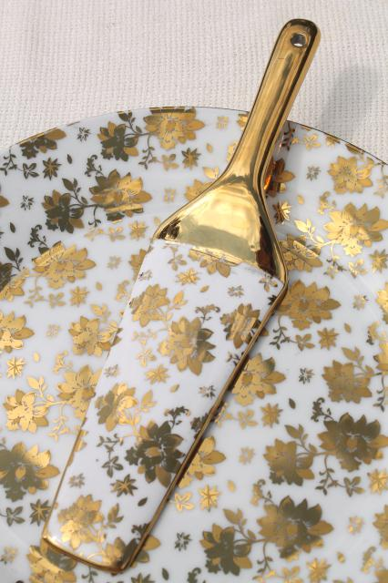 vintage gold chintz china cake plate & server w/ encrusted gold, German porcelain