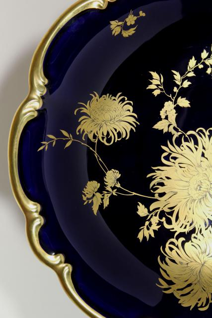 Vintage Gold Chrysanthemum Cobalt Blue Hand Painted Bavaria China Large Bowl Centerpiece