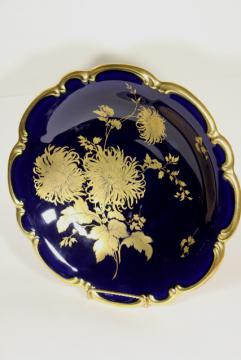 vintage gold chrysanthemum cobalt blue, hand painted Bavaria china large bowl centerpiece